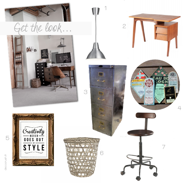 get the look un bureau vintage et industriel decocrush. Black Bedroom Furniture Sets. Home Design Ideas