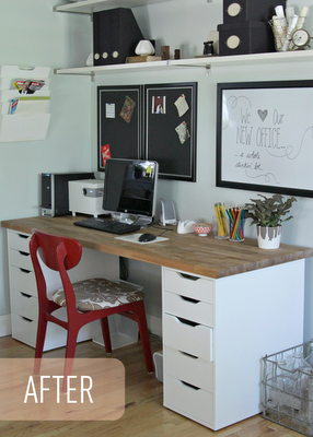 Decoration bureau avant apres heather the lovely cupboard07 decocrush - Plan de travail pour bureau sur mesure ...
