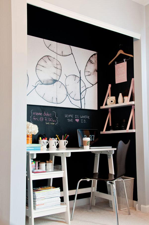 un bureau fonctionnel dans un placard decocrush. Black Bedroom Furniture Sets. Home Design Ideas