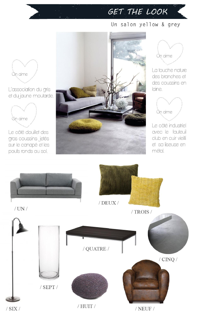 get the look un salon douillet en gris et jaune. Black Bedroom Furniture Sets. Home Design Ideas