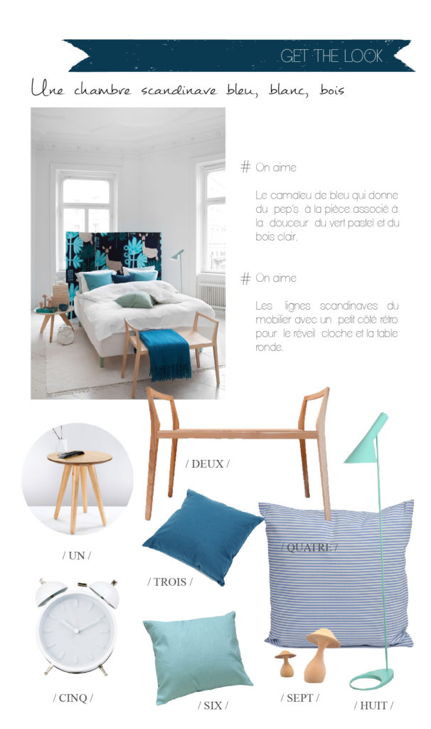 get the look une chambre scandi en bleu blanc bois decocrush. Black Bedroom Furniture Sets. Home Design Ideas